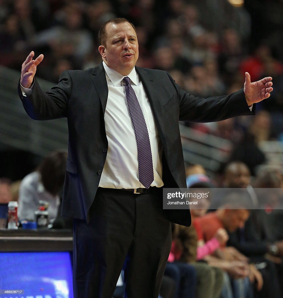 Head coach Tom Thibodeau of the Chicago Bulls reacts to a foul call during a game against the Minnesota Timberwolves at the United Center on January 27, 2014 in Chicago, Illinois. The Timberwolves defeated the Bulls 95-86.