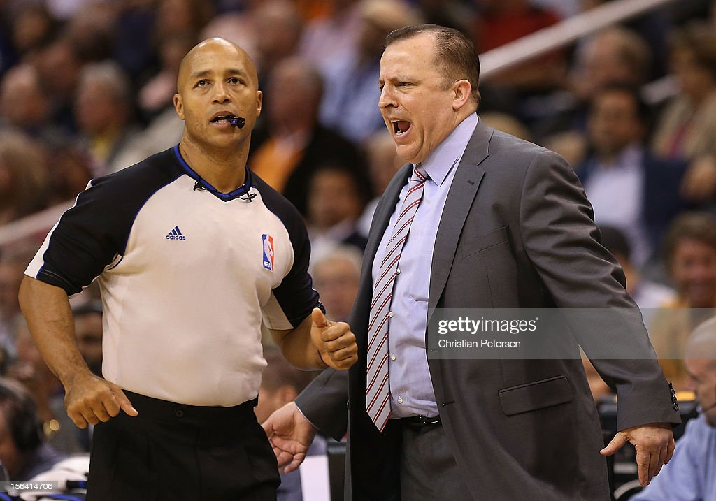 Head coach <a gi-track='captionPersonalityLinkClicked' href=/galleries/search?phrase=Tom+Thibodeau&family=editorial&specificpeople=2162261 ng-click='$event.stopPropagation()'>Tom Thibodeau</a> of the Chicago Bulls reacts to referee Marc Davis during the NBA game against the Phoenix Suns at US Airways Center on November 14, 2012 in Phoenix, Arizona. The Bulls defeated the Suns 112-106 in overtime.
