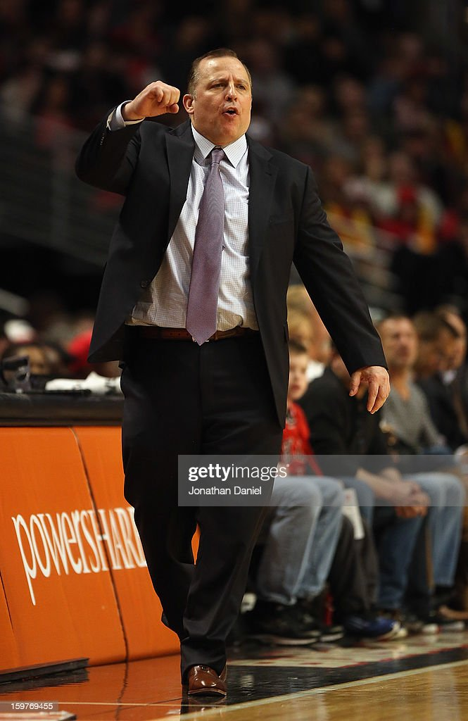 Head coach Tom Thibodeau of the Chicago Bulls yells instructions to his team against the Memphis Grizzles at the United Center on January 19, 2013 in Chicago, Illinois. The Grizzlies defeated the Bulls 85-82 in overtime.
