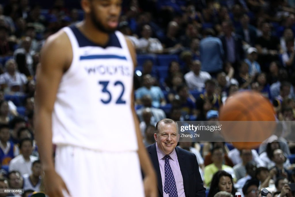 Head coach Tom Thibodeau of the Minnesota Timberwolves reacts as Karl-Anthony Towns #32 of the Minnesota Timberwolves on court during the game between the Minnesota Timberwolves and the Golden State Warriors as part of 2017 NBA Global Games China at Mercedes-Benz Arena on October 8, 2017 in Shanghai, China.