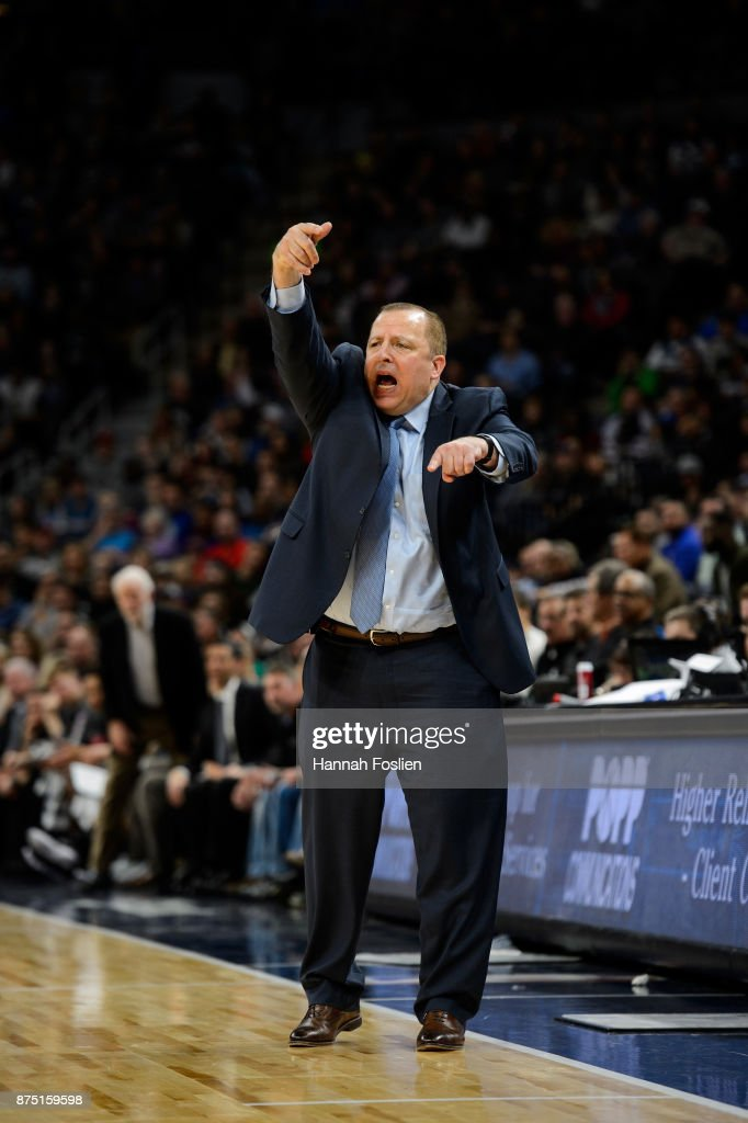 Head coach Tom Thibodeau of the Minnesota Timberwolves reacts during the game against the San Antonio Spurs on November 15, 2017 at the Target Center in Minneapolis, Minnesota.