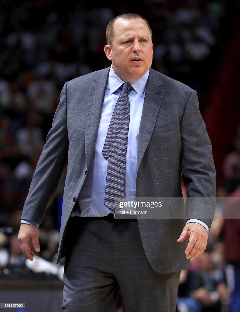 Head coach Tom Thibodeau of the Minnesota Timberwolves reacts to a play during a game against the Miami Heat at American Airlines Arena on October 30, 2017 in Miami, Florida.