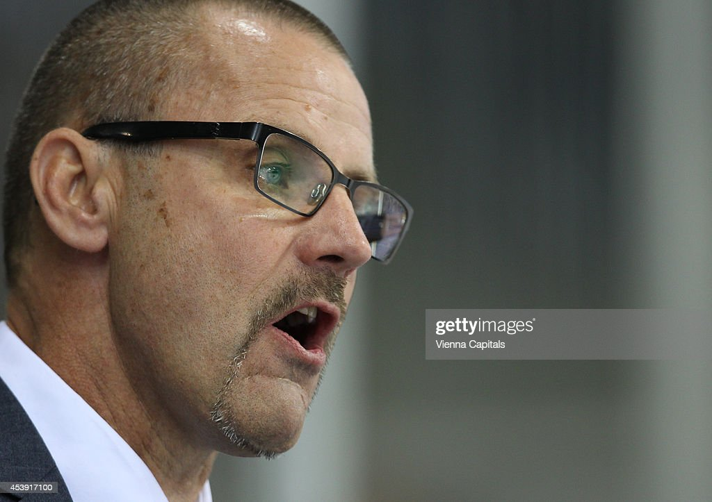 Head coach Tommy Samuelsson (Faerjestad) looks on during the Champions Hockey League group stage game between Vienna Capitals and Faerjestad Karlstad on August 21, 2014 in Vienna, Austria.