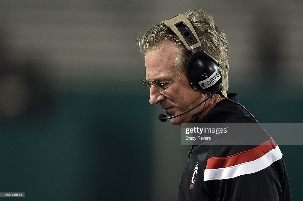 Head coach Tommy Tuberville of the Cincinnati Bearcats reacts to a play during the third quarter of a game against the Tulane Green Wave at Yulman Stadium on October 31, 2014 in New Orleans, Louisiana.