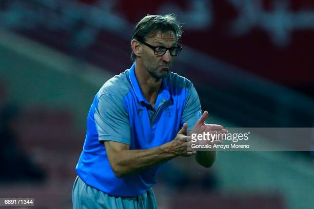 Head coach Tony Adams of Granada CF encourages his team during the La Liga match between Granada CF and Real Club Celta de Vigo at Estadio Nuevo Los...