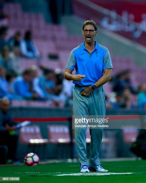 Head coach Tony Adams of Granada CF gives instructions during the La Liga match between Granada CF and Real Club Celta de Vigo at Estadio Nuevo Los...