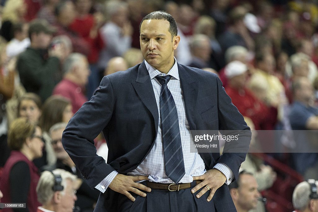 Head Coach Tony Barbee of the Auburn Tigers looks at his bench during a game against the Arkansas Razorbacks at Bud Walton Arena on January 16, 2013 in Fayetteville, Arkansas. The Razorbacks defeated the Tigers 88-80.