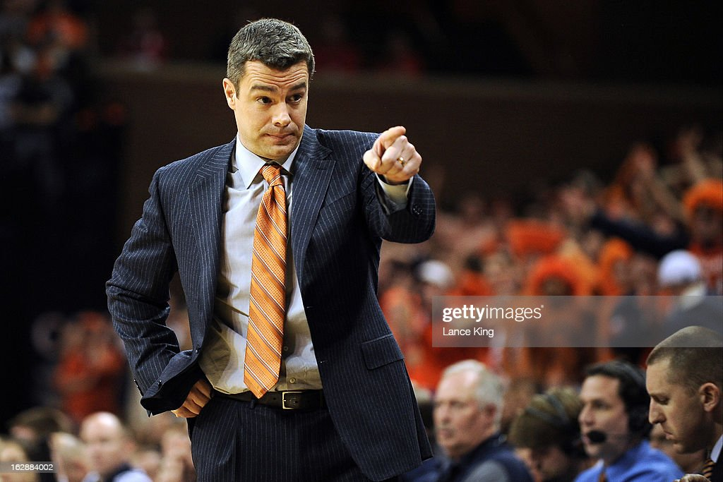 Head coach Tony Bennett of the Virginia Cavaliers points to a player during a game against the Duke Blue Devils at John Paul Jones Arena on February 28, 2013 in Charlottesville, Virginia.