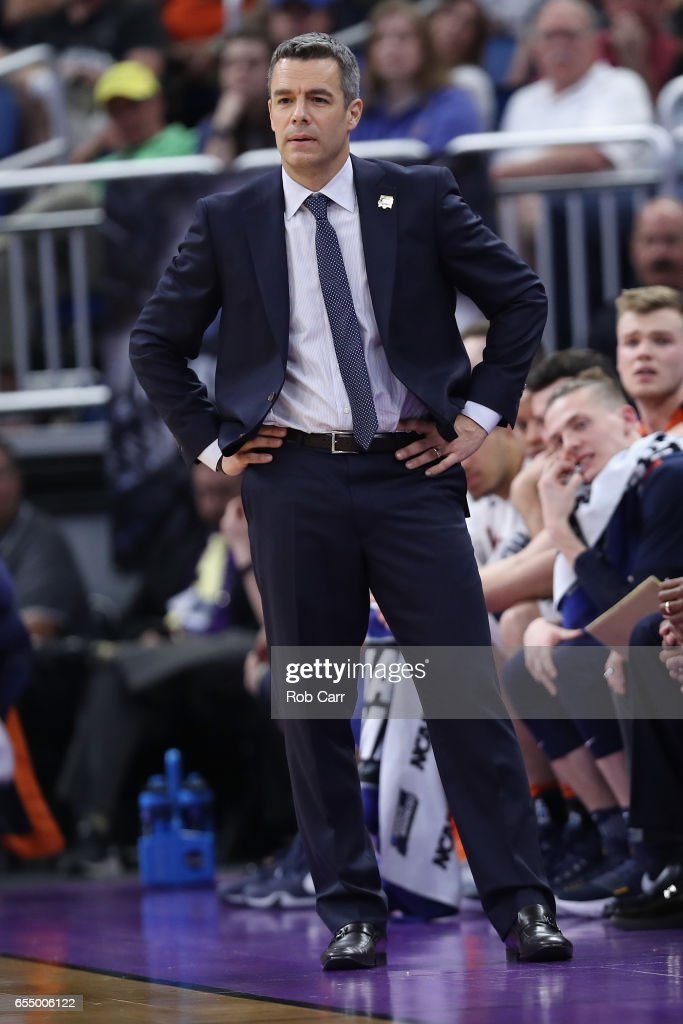 Head coach Tony Bennett of the Virginia Cavaliers reacts against the Florida Gators during the second round of the 2017 NCAA Men's Basketball Tournament at the Amway Center on March 18, 2017 in Orlando, Florida. The Florida Gators won 65-39.