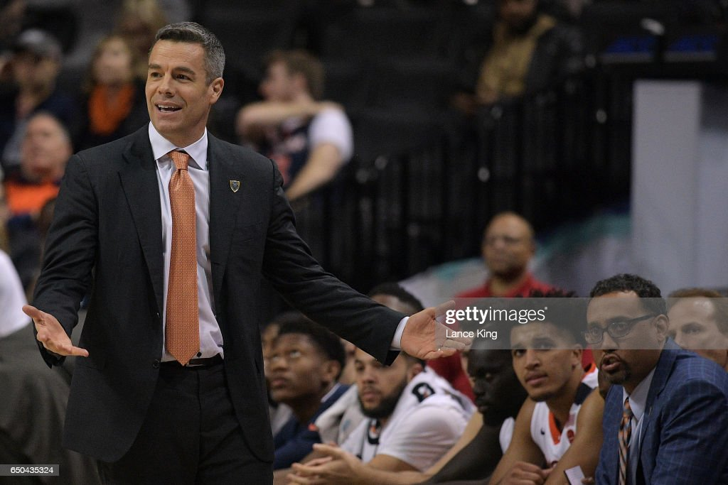 Head coach Tony Bennett (L) of the Virginia Cavaliers reacts during their game against the Pittsburgh Panthers during the second round of the ACC Basketball Tournament at Barclays Center on March 8, 2017 in the Brooklyn borough of New York City.