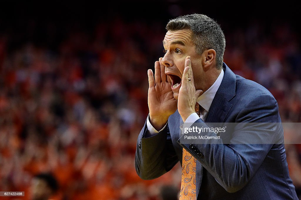 Head coach Tony Bennett of the Virginia Cavaliers reacts in the first half during a game against the West Virginia Mountaineers at John Paul Jones Arena on December 3, 2016 in Charlottesville, Virginia.