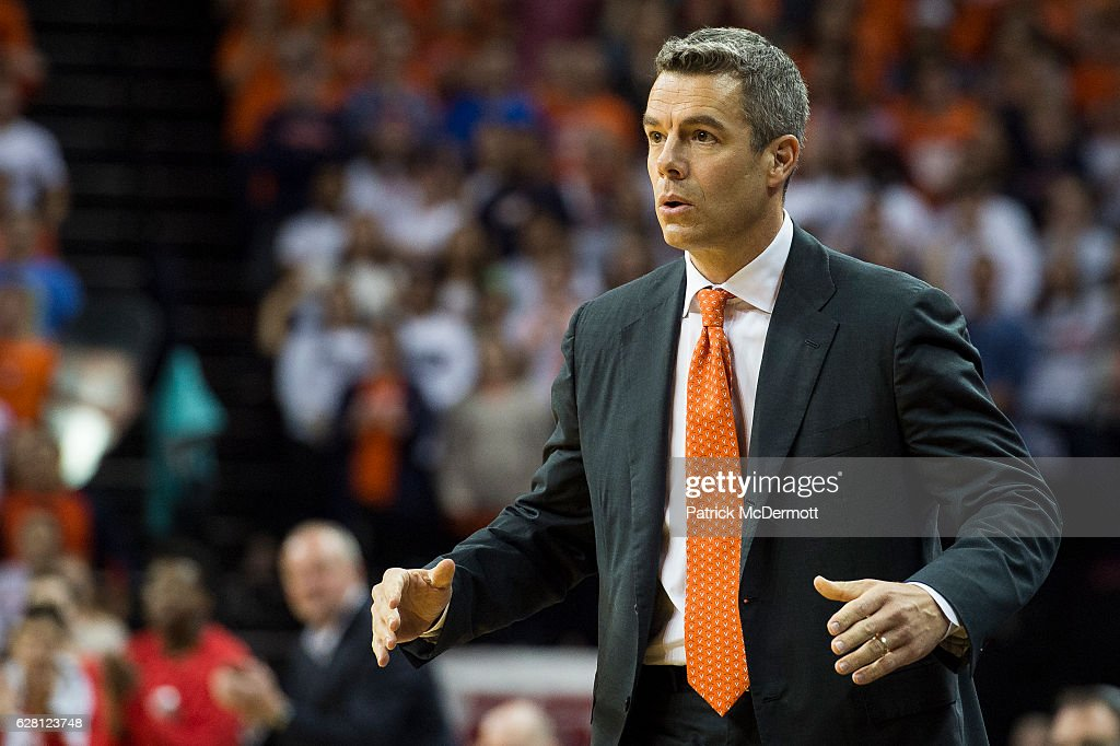 Head coach Tony Bennett of the Virginia Cavaliers reacts in the first half during a game against the Ohio State Buckeyes at John Paul Jones Arena on November 30, 2016 in Charlottesville, Virginia.