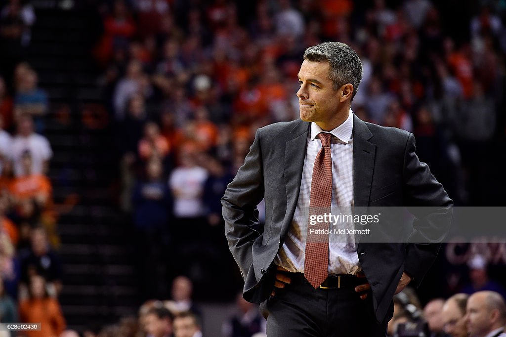 Head coach Tony Bennett of the Virginia Cavaliers reacts in the first half during a game against the East Carolina Pirates at John Paul Jones Arena on December 6, 2016 in Charlottesville, Virginia.