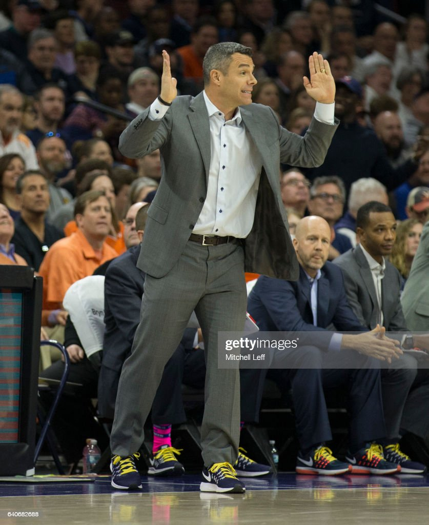 Head coach Tony Bennett reacts against the Villanova Wildcats at the Wells Fargo Center on January 29, 2017 in Philadelphia, Pennsylvania.