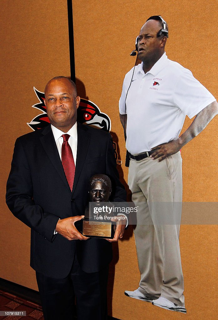 Head coach Tony Samuel, of Southeast Missouri State, stands by a life size cut-out after winning the 2010 Eddie Robinson Award during the 24th Annual Football Championship Subdivision Awards on January 6, 2011 in Frisco, Texas.