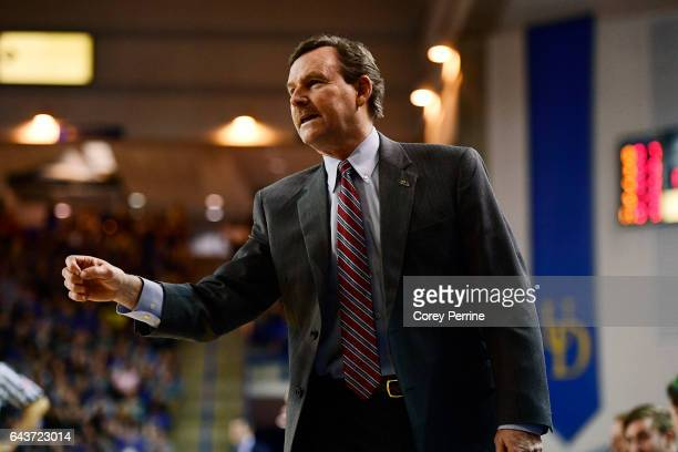 Head coach Tony Shaver of the William Mary Tribe coaches during the first half against the Delaware Fightin Blue Hens at the Bob Carpenter Center on...
