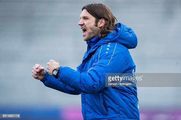 Head coach Torsten Frings of Darmstadt celebrates his team's first goal during the Friendly Match between SV Darmstadt 98 and VfL Bochum at...