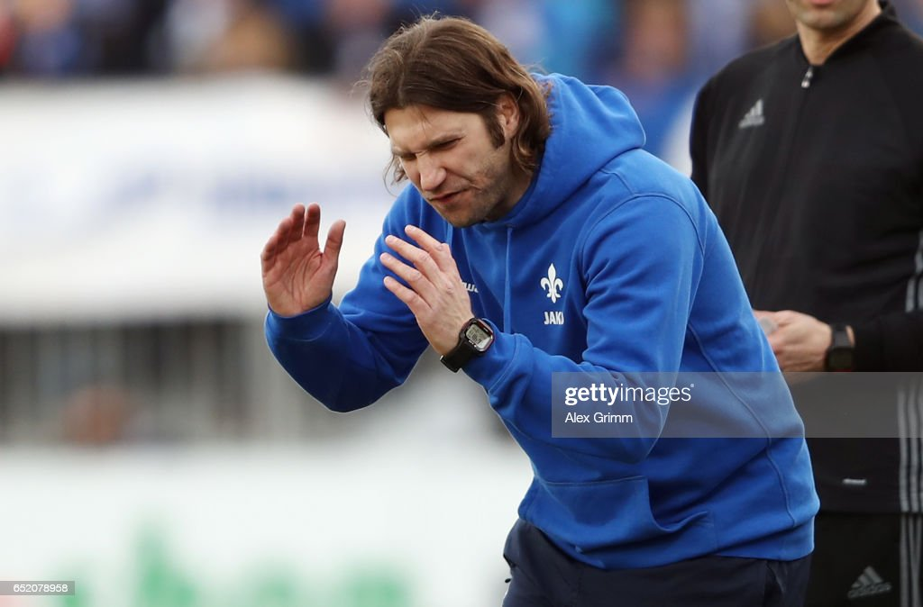 Head coach Torsten Frings of Darmstadt reacts during the Bundesliga match between SV Darmstadt 98 and 1. FSV Mainz 05 at Jonathan-Heimes-Stadion am Boellenfalltor on March 11, 2017 in Darmstadt, Germany.