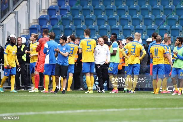 Head coach Torsten Lieberknecht and his team of Braunschweig appears frustrated after the Second Bundesliga match between DSC Arminia Bielefeld and...