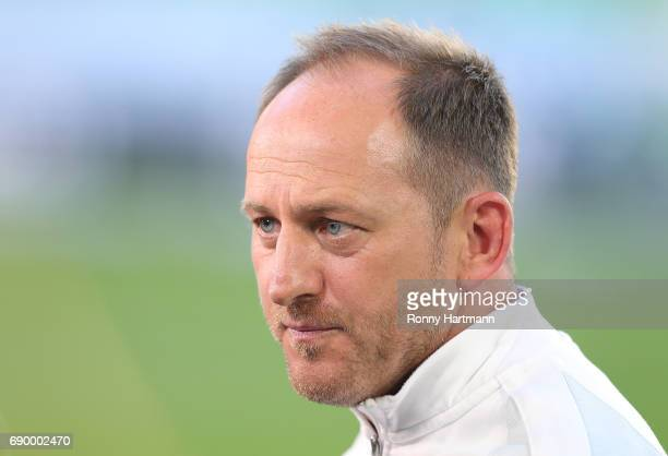 Head coach Torsten Lieberknecht of Braunschweig during the Bundesliga Playoff first leg match between VfL Wolfsburg and Eintracht Braunschweig at...