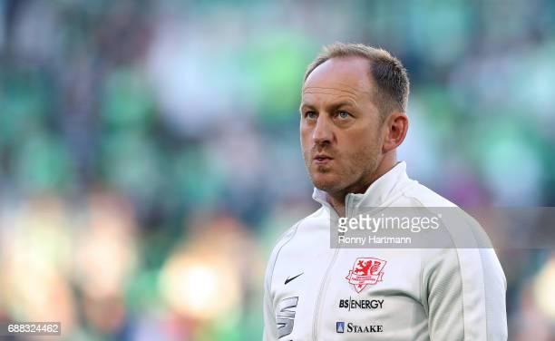 Head coach Torsten Lieberknecht of Braunschweig enters the pitch prior to the Bundesliga Playoff first leg match between VfL Wolfsburg and Eintracht...