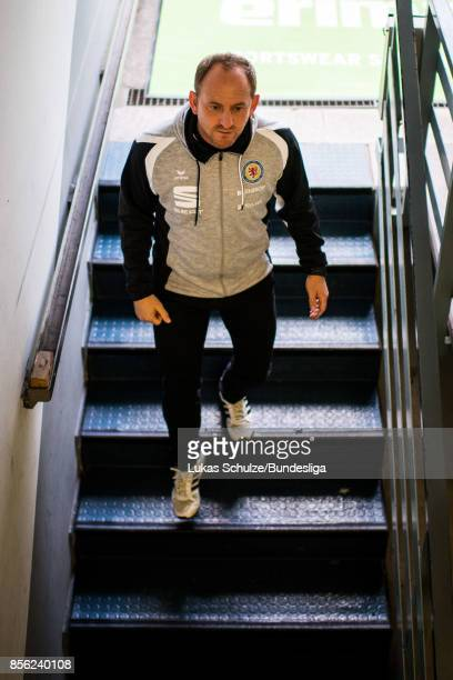 Head Coach Torsten Lieberknecht of Braunschweig is seen in the player tunnel prior to the Second Bundesliga match between Eintracht Braunschweig and...