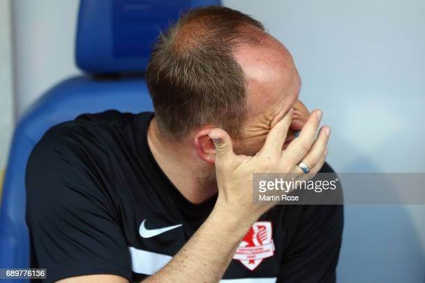 Head coach Torsten Lieberknecht of Braunschweig looks on prior to the Bundesliga Playoff leg 2 match between Eintracht Braunschweig and VfL Wolfsburg...