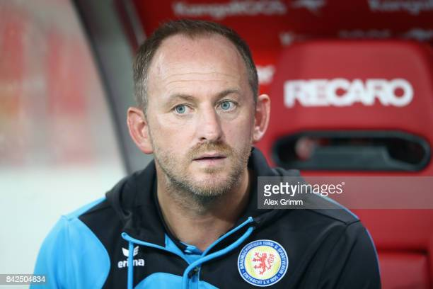 Head coach Torsten Lieberknecht of Braunschweig looks on prior to the Second Bundesliga match between 1 FC Kaiserslautern and Eintracht Braunschweig...