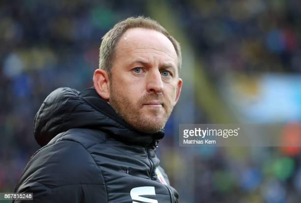 Head coach Torsten Lieberknecht of Braunschweig looks on prior to the Second Bundesliga match between SG Dynamo Dresden and Eintracht Braunschweig at...