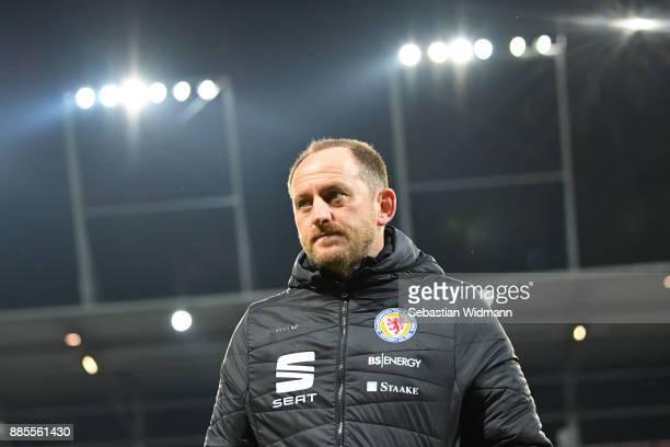 Head coach Torsten Lieberknecht of Braunschweig looks on prior to the Second Bundesliga match between FC Ingolstadt 04 and Eintracht Braunschweig at...