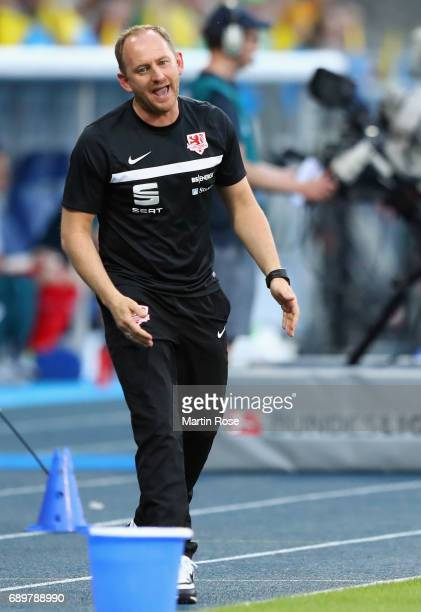 Head coach Torsten Lieberknecht of Braunschweig reacts during the Bundesliga Playoff leg 2 match between Eintracht Braunschweig and VfL Wolfsburg at...