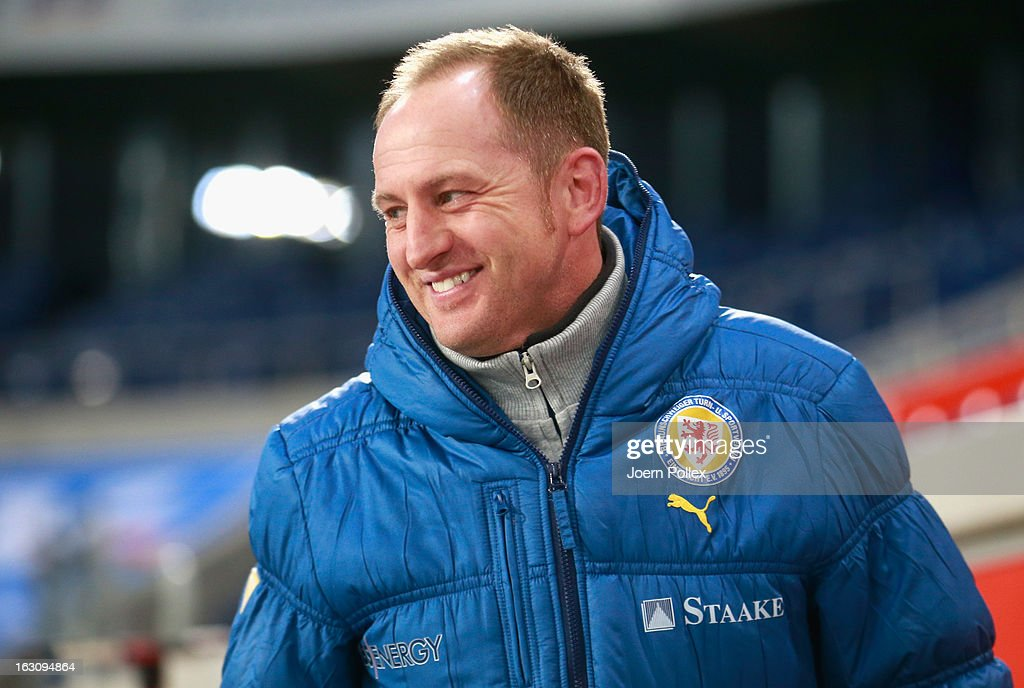 Head coach Torsten Lieberknecht of Braunschweig smiles prior to the Second Bundesliga match between MSV Duisburg and Eintracht Braunschweig at Schauinsland-Reisen-Arena on March 4, 2013 in Duisburg, Germany.