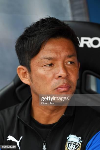 Head coach Toru Oniki of Kawasaki Frontale looks on prior to the JLeague Levain Cup semi final second leg match between Kawasaki Frontale and Vegalta...