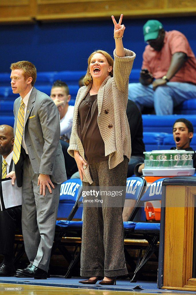 Head Coach Tracey Dorow of the Valparaiso Crusaders calls a play against the Duke Blue Devils at Cameron Indoor Stadium on November 23, 2012 in Durham, North Carolina. Duke defeated Valparaiso 90-45.