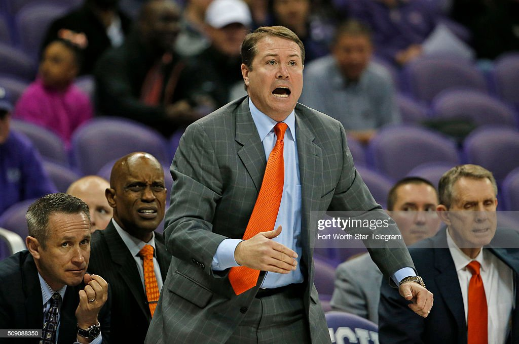 OSU head coach Travis Ford reacts to his team on defense during the first half on Monday, Feb. 8, 2016, at Ed & Rae Schollmaier Arena in Fort Worth, Texas.