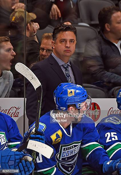 Head coach Travis Green of the Utica Comets watches the play against the Toronto Marlies during game action on November 26 2016 at Air Canada Centre...