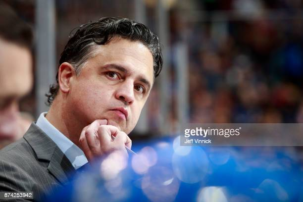 Head coach Travis Green of the Vancouver Canucks looks on from the bench during their NHL game against the Washington Capitals at Rogers Arena...