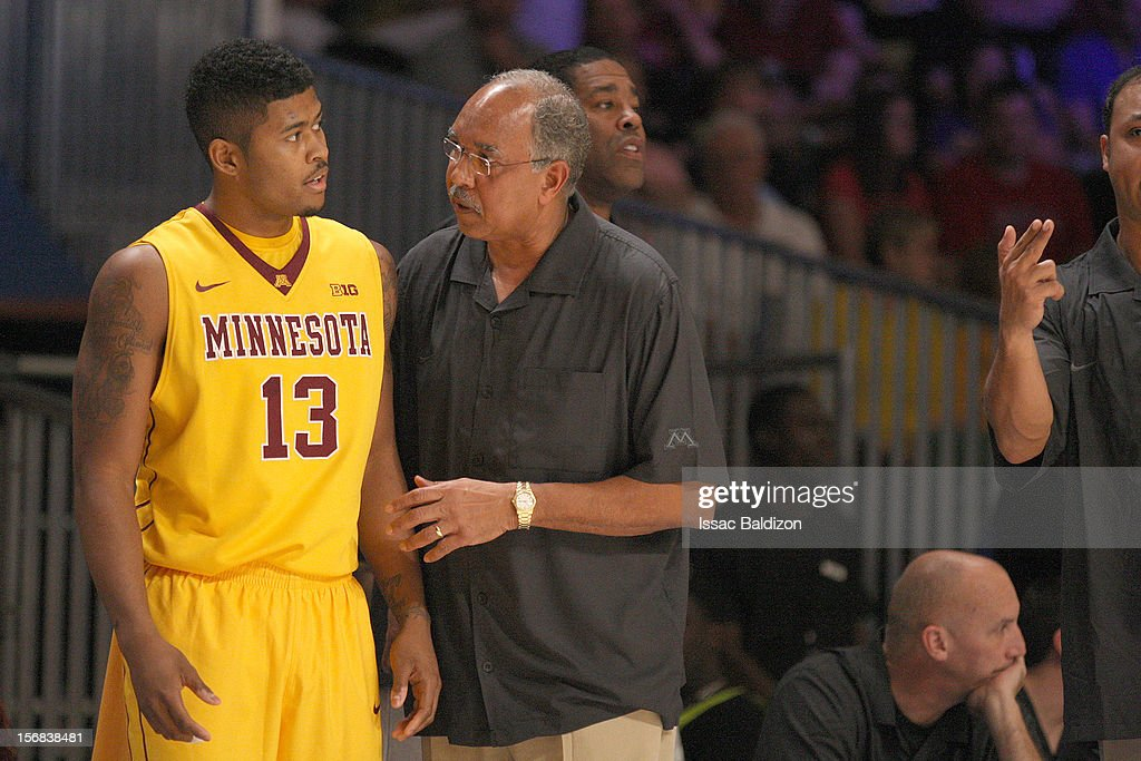 Head Coach Tubby Smith instructs Maverick Ahanmisi #13 of the Minnesota Gophers during the Battle 4 Atlantis tournament at Atlantis Resort on November 22, 2012 in Nassau, Paradise Island, Bahamas.