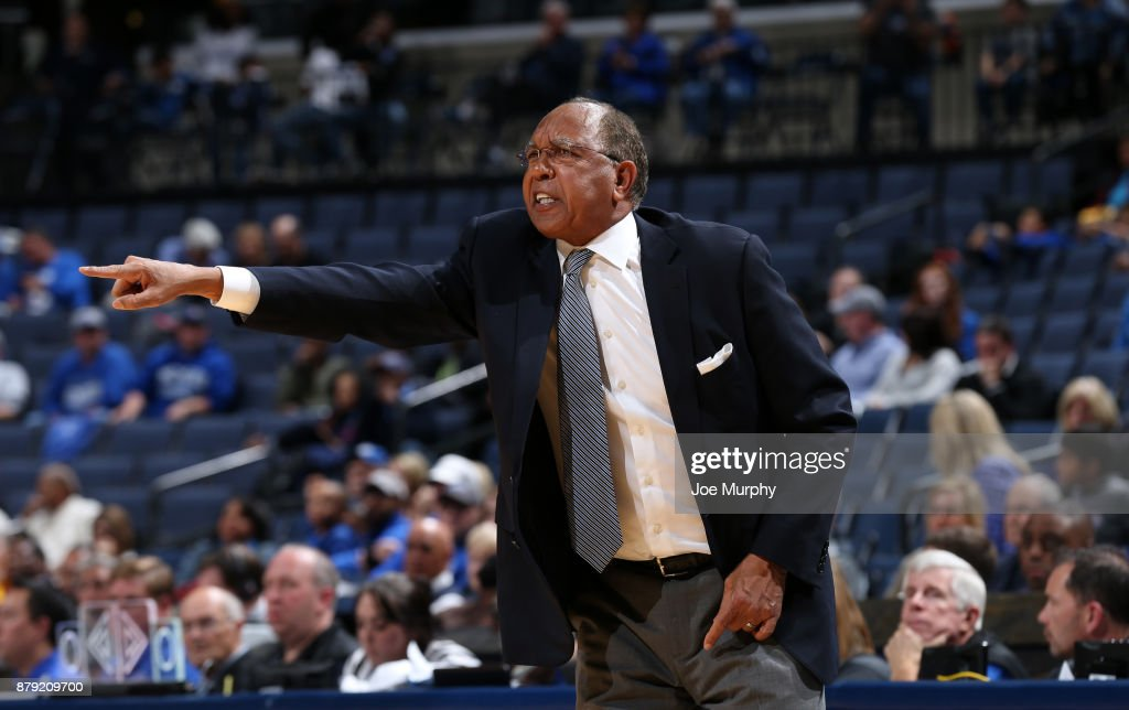 Head coach Tubby Smith of the Memphis Tigers points from the sideline against the Northern Kentucky Norse on November 25, 2017 at FedExForum in Memphis, Tennessee. Memphis defeated Northern Kentucky 76-74.