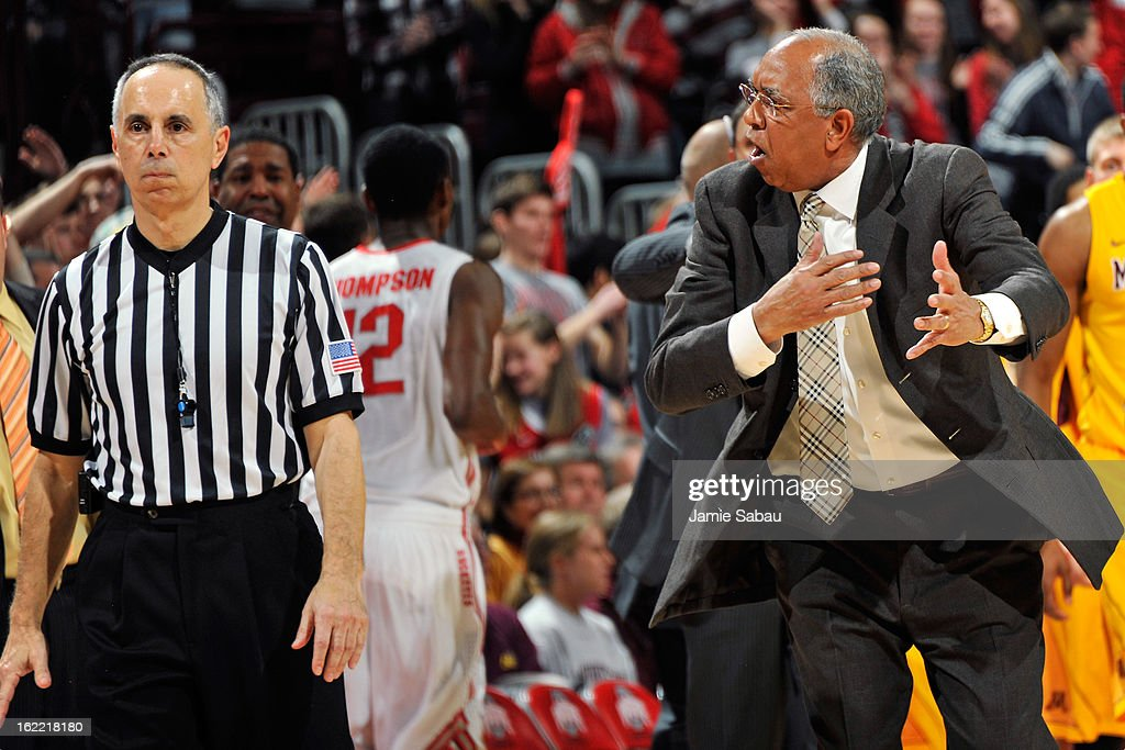 Head coach <a gi-track='captionPersonalityLinkClicked' href=/galleries/search?phrase=Tubby+Smith&family=editorial&specificpeople=210765 ng-click='$event.stopPropagation()'>Tubby Smith</a> of the Minnesota Golden Gophers argues a call with a referee at halftime against Ohio State on February 20, 2013 at Value City Arena in Columbus, Ohio. Ohio State defeated Minnesota 71-45.