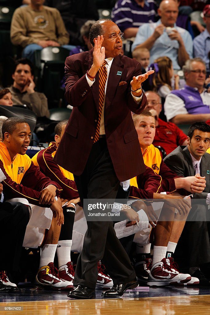 Head coach <a gi-track='captionPersonalityLinkClicked' href=/galleries/search?phrase=Tubby+Smith&family=editorial&specificpeople=210765 ng-click='$event.stopPropagation()'>Tubby Smith</a> of the Minnesota Golden Gophers watches action during the game against the Penn State Nittany Lion in the first round of the Big Ten Men's Basketball Tournament at Conseco Fieldhouse on March 11, 2010 in Indianapolis, Indiana.