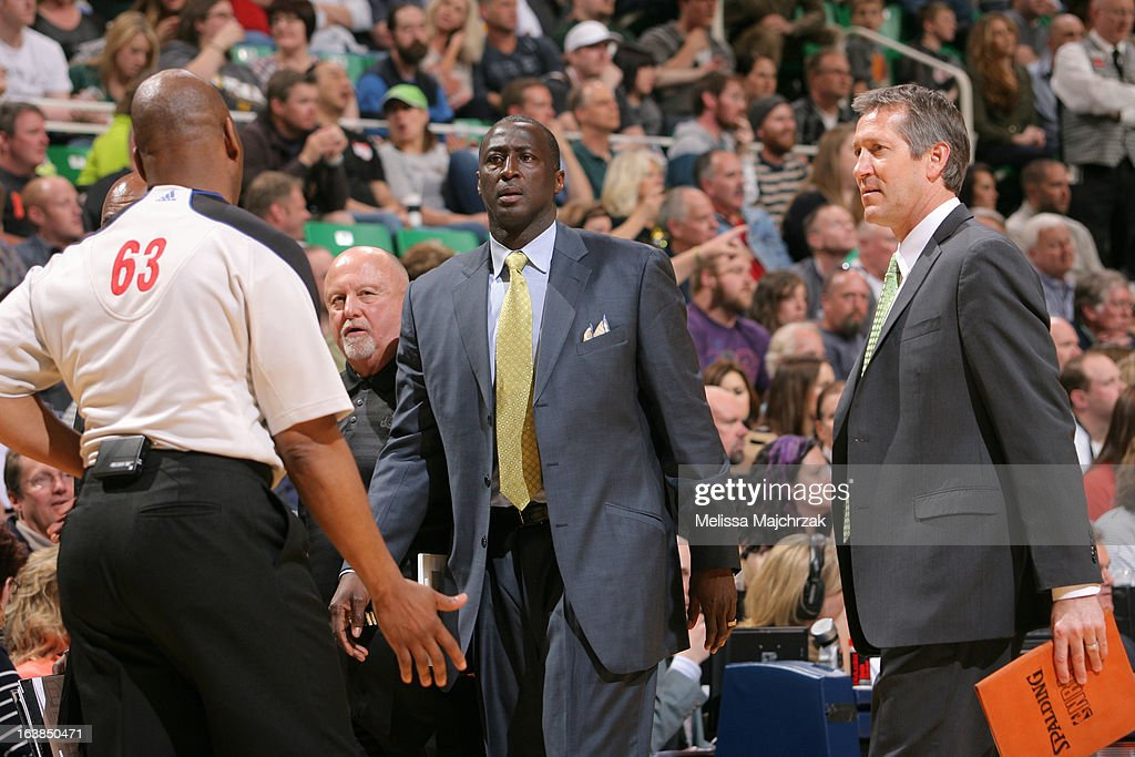 Head coach Tyrone Corbin and Assistant Coach Jeff Hornacek of the Utah Jazz during a timeout against the Memphis Grizzlies at Energy Solutions Arena on March 16, 2013 in Salt Lake City, Utah.