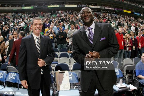 Head coach Tyrone Corbin and assistant coach Scott Layden of the Utah Jazz laugh prior to the game against the Phoenix Suns at EnergySolutions Arena...