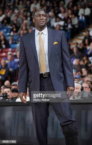 Head coach Tyrone Corbin of the Sacramento Kings coaches against the Oklahoma City Thunder on December 16 2014 at Sleep Train Arena in Sacramento...