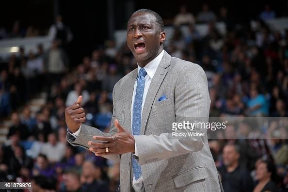Head coach Tyrone Corbin of the Sacramento Kings coaches against the Dallas Mavericks on January 13 2015 at Sleep Train Arena in Sacramento...