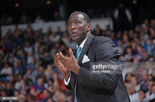 Head coach Tyrone Corbin of the Sacramento Kings coaches against the Brooklyn Nets on January 21 2015 at Sleep Train Arena in Sacramento California...
