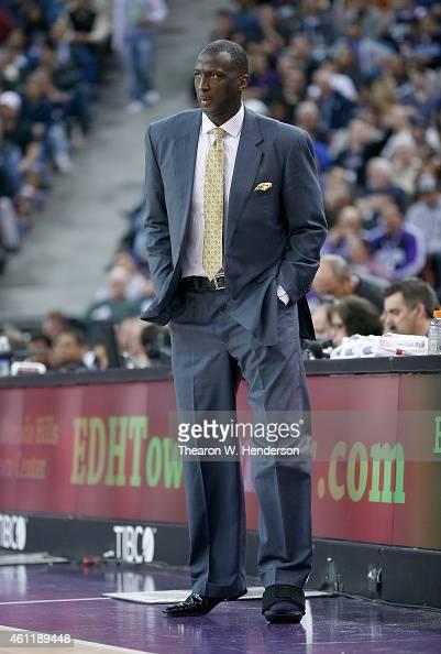 Head coach Tyrone Corbin of the Sacramento Kings looks on against the Oklahoma City Thunder at Sleep Train Arena on January 7 2015 in Sacramento...