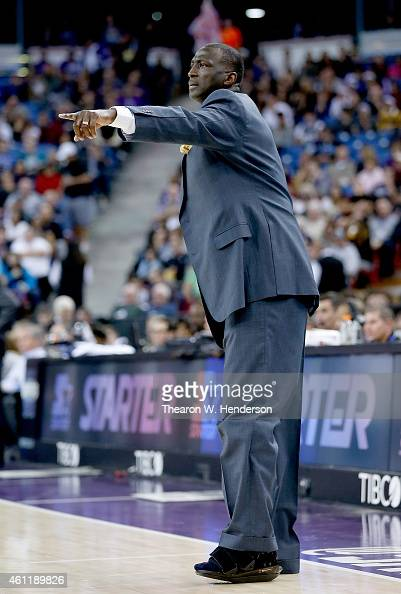 Head coach Tyrone Corbin of the Sacramento Kings shouts out to his team against the Oklahoma City Thunder at Sleep Train Arena on January 7 2015 in...
