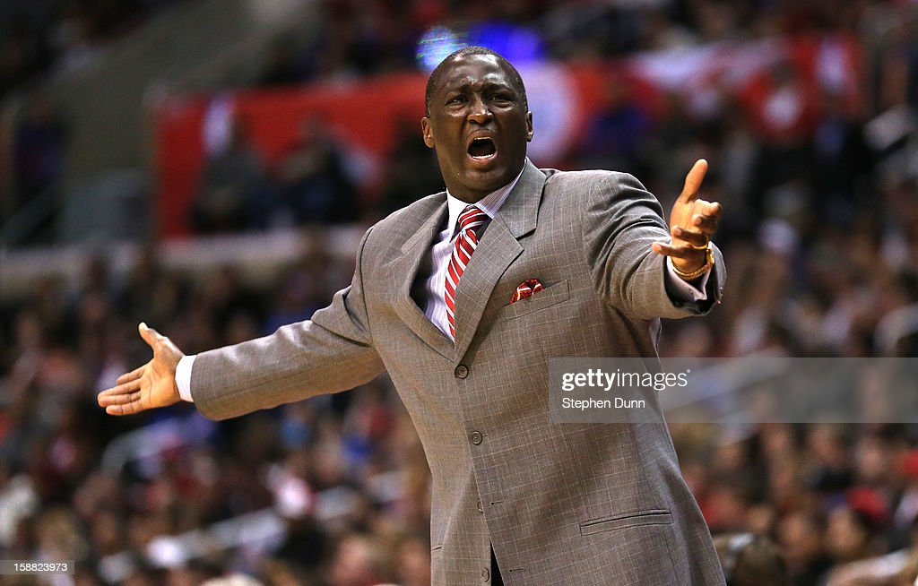 Head coach Tyrone Corbin of the Utah Jazz complains to a referee in the game with the Los Angeles Clippers at Staples Center on December 30, 2012 in Los Angeles, California.