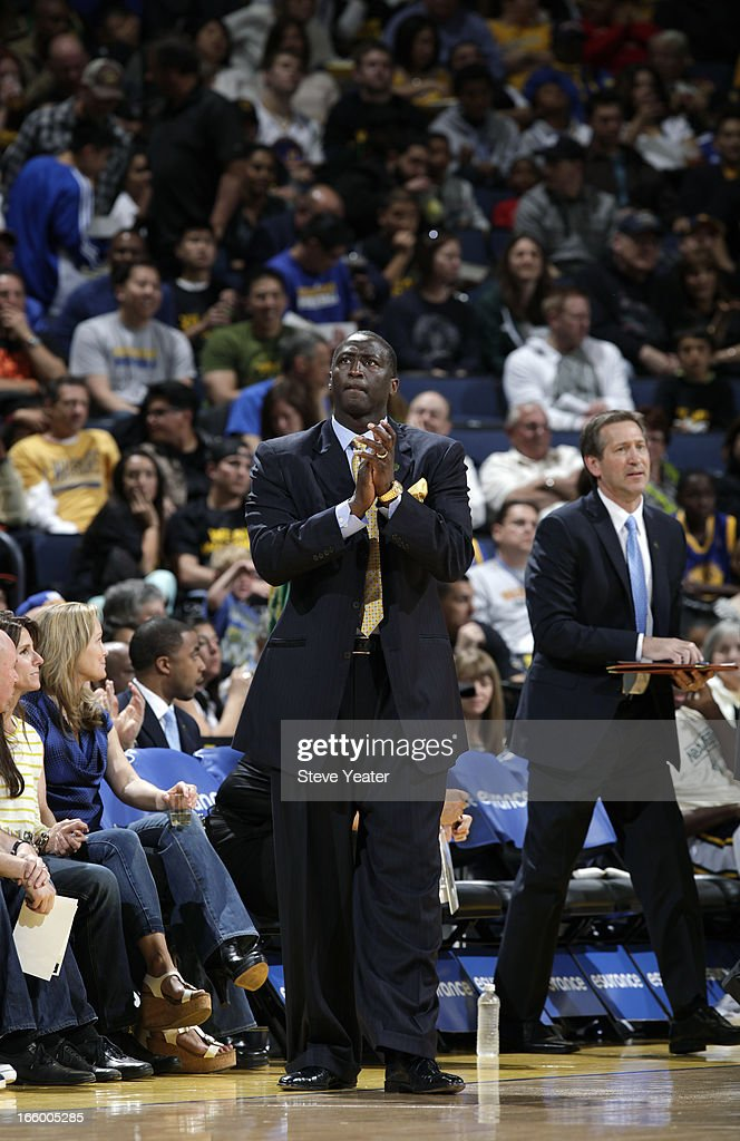 Head Coach <a gi-track='captionPersonalityLinkClicked' href=/galleries/search?phrase=Tyrone+Corbin&family=editorial&specificpeople=829288 ng-click='$event.stopPropagation()'>Tyrone Corbin</a> of the Utah Jazz during a game against the Golden State Warriors on April 7, 2013 at Oracle Arena in Oakland, California.